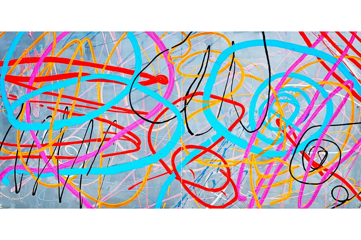 Susie McKay Krieser, Healing and Happiness, 2020. 48'' X 96''. Diptych. Acrylic and Lacquer on Aluminum. Courtesy of the artist.