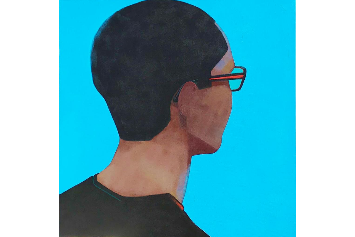 Susie McKay Krieser, Andre (Part of the Turning Heads series), 2018. 36'' X 36''. Acrylic on Canvas. Courtesy of the artist.