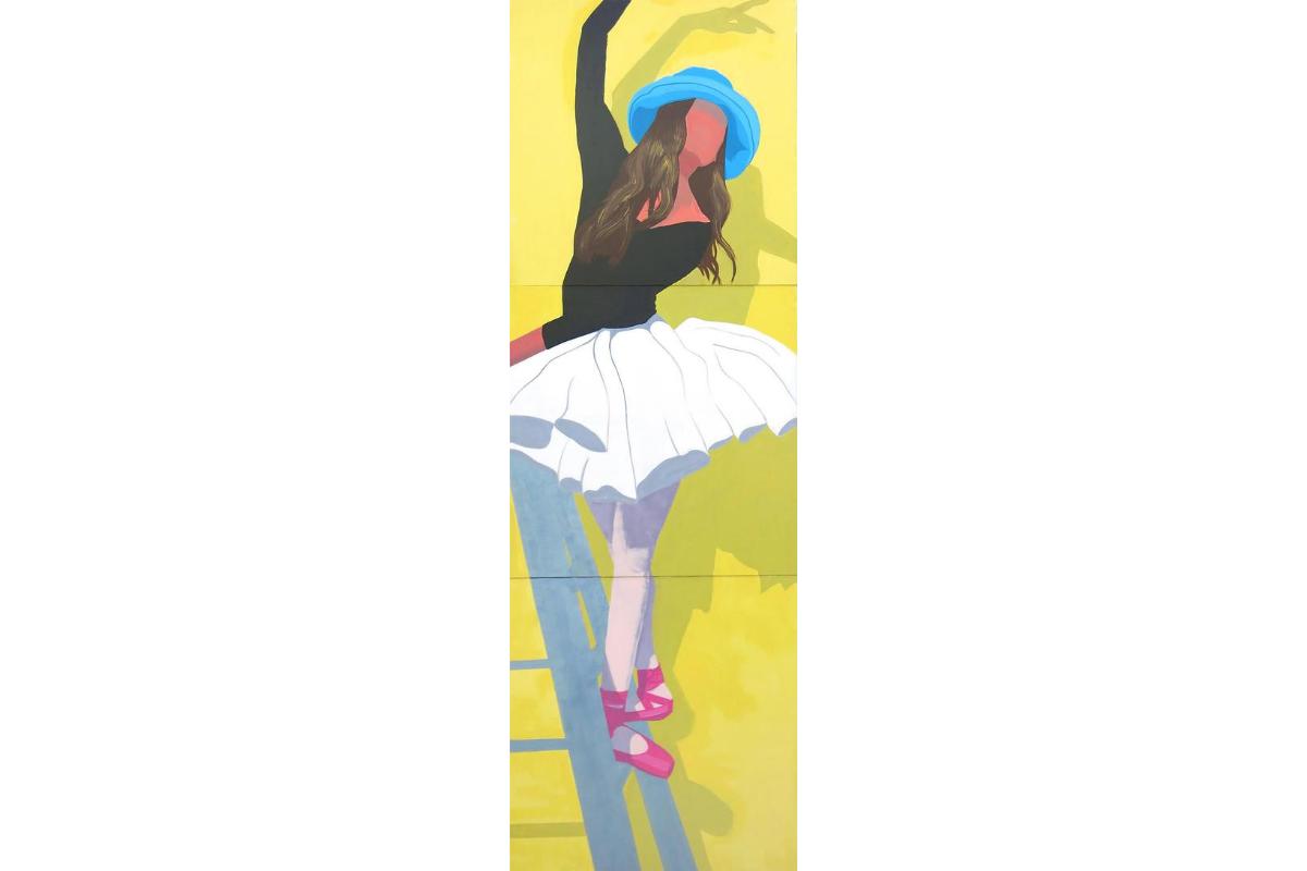 Susie McKay Krieser, Ballerina, 2016. 108'' X 36''. Triptych. Acrylic on Canvas. Courtesy of the artist.