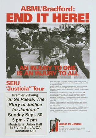 Justice for Janitors and Service Employees International Union (SEIU), ABMI/Bradford: End It Here, 1990. Offset. Los Angeles, CA.