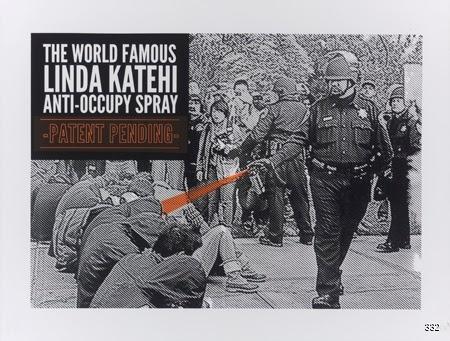 Roque Montez and Taller Arte Del Nuevo Amanecer (TANA), The World Famous Linda Katehi Anti-Occupy Spray, 2012. Silkscreen. Davis, CA.