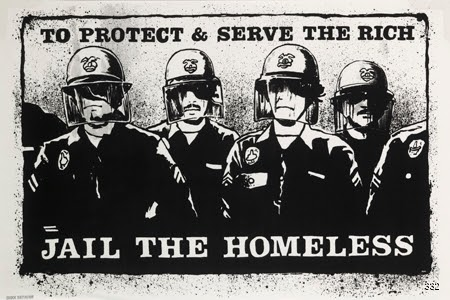 Mark Vallen, To Protect and Serve the Rich—Jail the Homeless, 1987. Silkscreen. Los Angeles, CA.