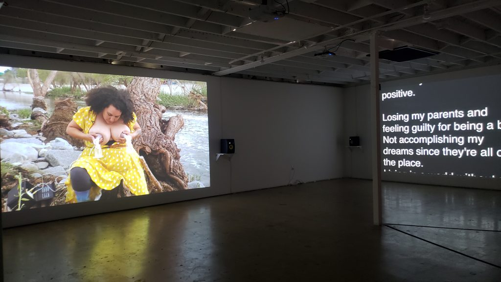 Patty Chang, Milk Debt, 2020. Installation view at 18th Street Arts Center Olympic Campus Main Gallery. Courtesy of the artist.