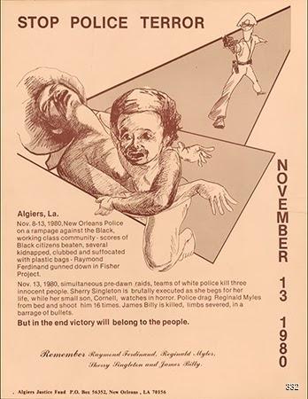 Chris Hero and Pam Bayer, Stop Police Terror, 1983. Silkscreen. New Orleans, LA.