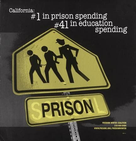 Design Action Collective, Freedom Winter Coalition, and Inkworks Press, California: #1 in Prison Spending #41 in education spending, 2001. Offset. Oakland, CA.