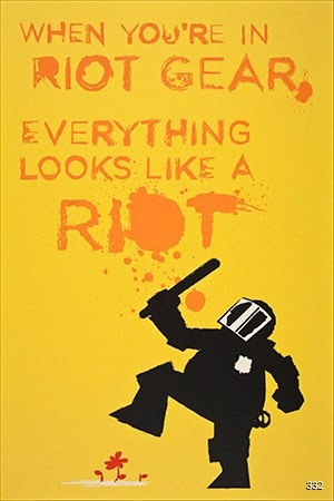 John Emerson, When You're in Riot Gear, Everything Looks Like a Riot, 2012. Occuprint Silkscreen. Brooklyn, NY.