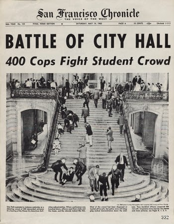San Francisco Chronicle, Battle of City Hall 400 Cops Fight Student Crowd, 1960. Offset. San Francisco, CA.