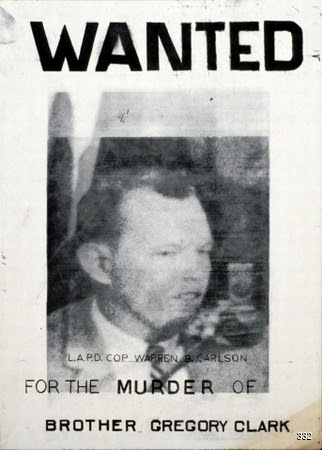 Artist Unknown, Wanted for the murder of Brother Gregory Clark, Circa 1968. Offset. Los Angeles, CA.