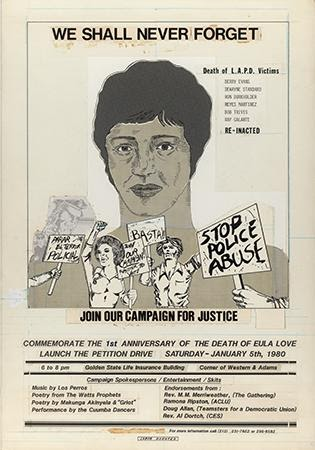 Gary Phillips, Sheila Minsky Schatz and Coalition Against Police Abuse (CAPA), We Shall Never Forget, 1980. Offset. Los Angeles, CA.