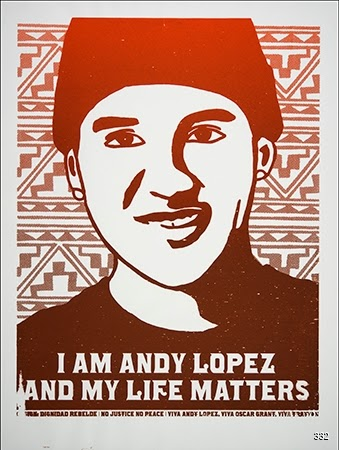 Melanie Cervantes, Roberto Fuentes, and Dignidad Rebelde, I Am Andy López and My Life Matters, 2013. Silkscreen. Oakland, CA.