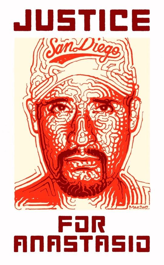 El Mac, Justseeds and CultureStrike, Justice for Anastasio, 2012. Silkscreen. Los Angeles, CA.