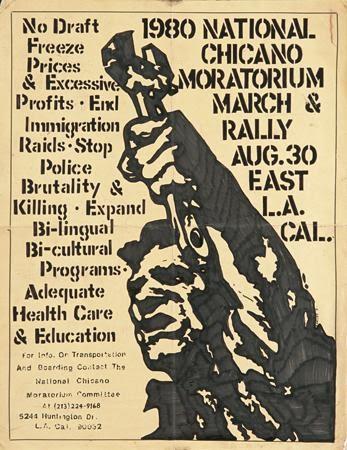 Carlos Callejo, 1980 National Chicano Moratorium March & Rally, 1980. Silkscreen. Los Angeles, CA.