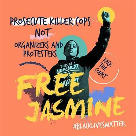 Walter Cruz and Black Lives Matter, Free Jasmine; Prosecute Killer Cops Not Organizers and Protesters, Circa 2017. Digital Print. Los Angeles, CA.
