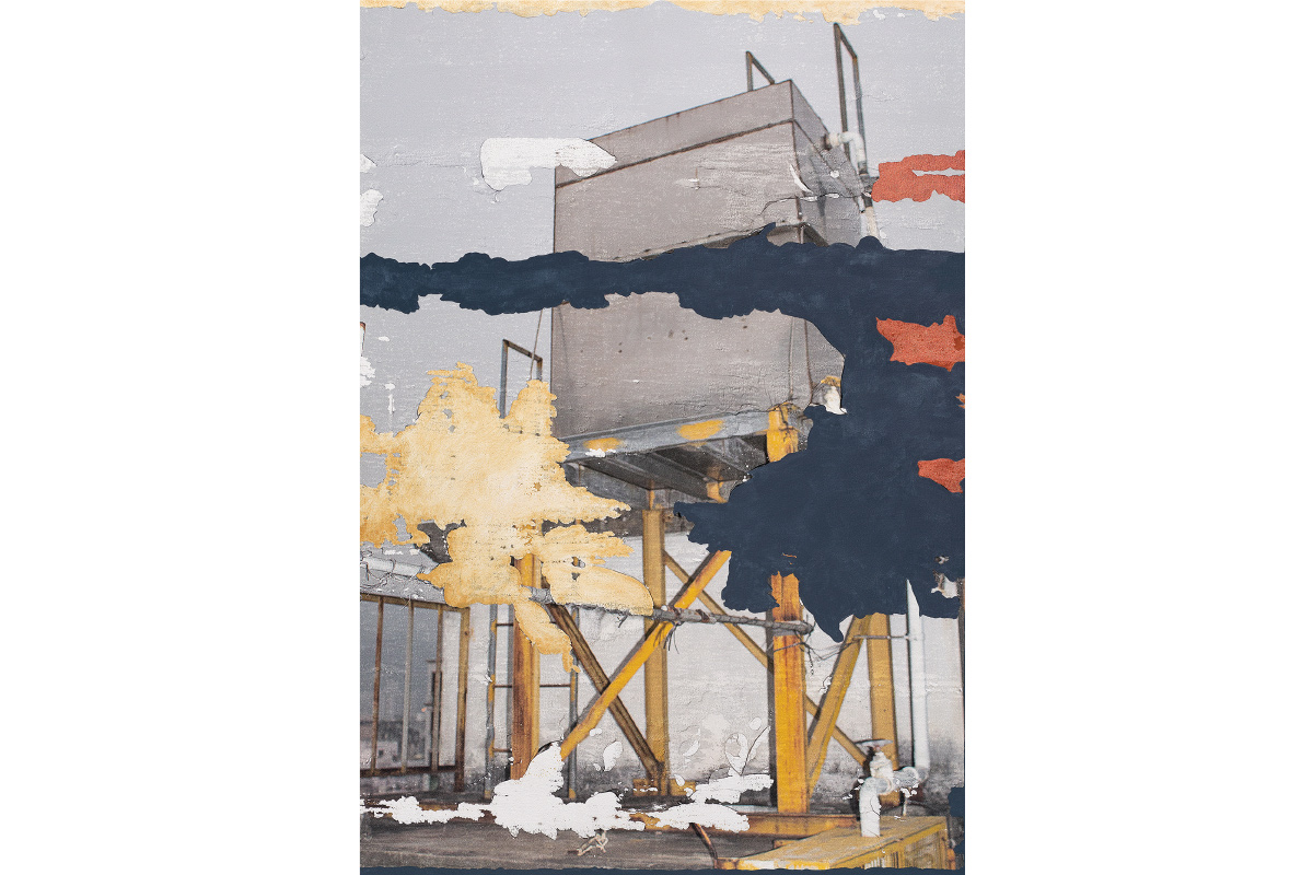 Beth Davila Waldman, Inevitable Entails No. 1, 2020. 56x40 in. Photo transfer and acrylic paint on canvas. Courtesy of the artist.