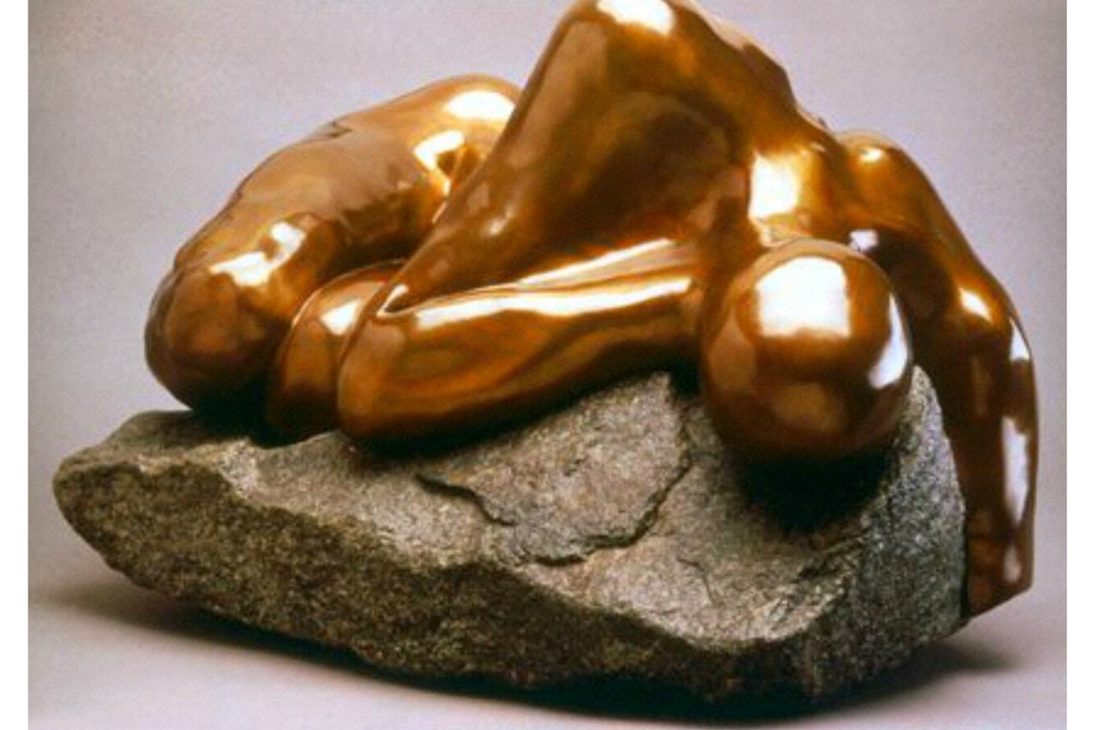 Rebecca Setareh, Encounter. 19 X 15 X 15 Inches. Bronze And Rock. Courtesy Of The Artist.