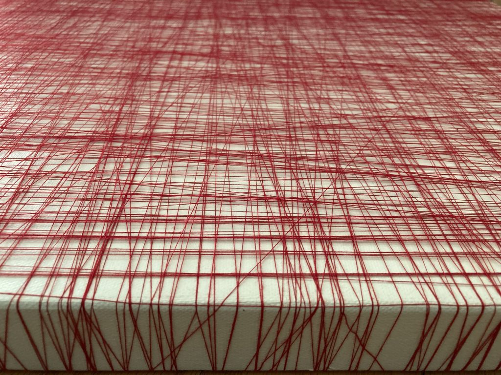"Ameeta Nanji, Entangled VIII, 2019. Red cotton thread, acrylic on canvas. 24"" x 24"". Courtesy of the artist."
