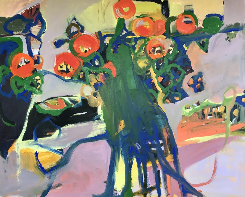 Daniela Schweitzer, Blooming. Acrylic and Oil on Canvas. 60 x 48 inches. Courtesy of the artist.