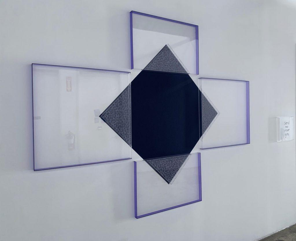 Deborah Lynn Irmas, Send Me Your Gita, 2019. House paint, acrylic, tape, twine, plexiglass. 68 x 87 inches. Courtesy of the artist.