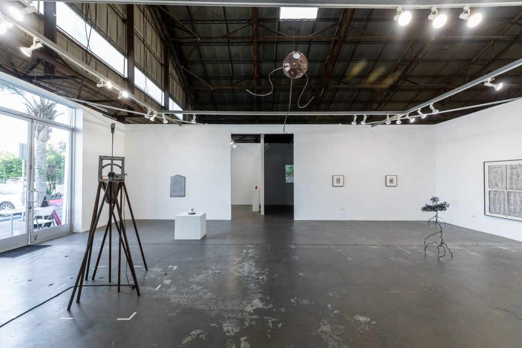 """Beatriz Cortez and Kang Seung Lee, """"Becoming Atmosphere."""" Installation view in the 18th Street Arts Center Airport Campus Main Gallery. Photo by Marc Walker."""