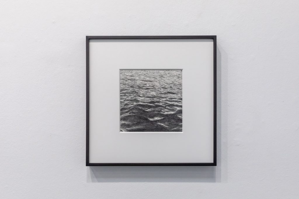 Kang Seung Lee, Untitled (Peter Hujar, Hudson River 4, 1976), 2020 Graphite on paper, frame 8 x 8 in (20 x 20 cm); framed: 16 x 16 x 1.5 in (41 x 41 x 4 cm). Photo by Marc Walker.