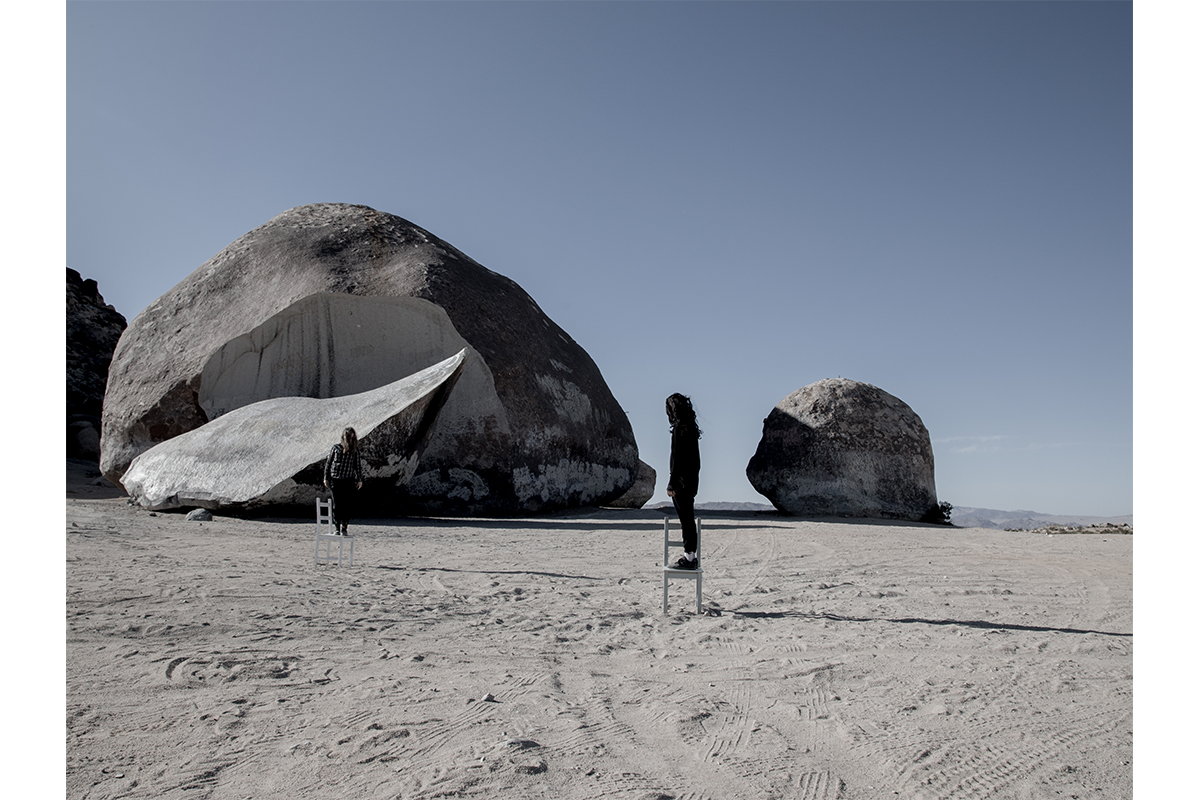 ALEXANDMUSHI, Two Chairs: Giant Rock, Joshua Tree, 2018. Durational practice. Archival Print. 44.25 x 58.75 inches. Courtesy of the artist.