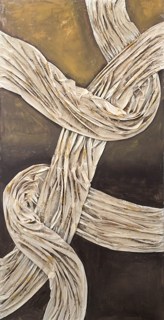 Elham Sagharchi, Lost In, 2020. Mixed media, acrylic paint, collage on canvas. 36 x 72 inches. Courtesy of the artist.