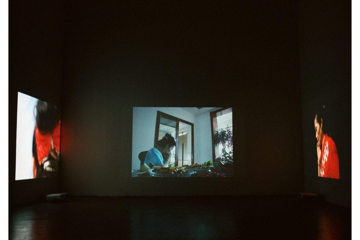二姨, 三轮车 Aunt, a tricycle, 2020. Three-channel video installation. Dimensions variable. Photo by the artist. Courtesy of the artist.
