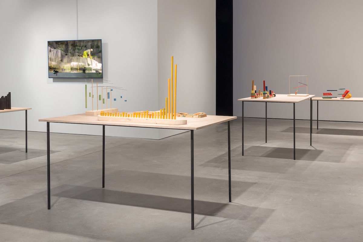 Richard Ibghy and Marilou Lemmens: Look, it's daybreak, dear, time to sing, 2019. Installation view at Bemis Center for Contemporary Arts, Omaha, NE.. Photo by Colin Conces. Courtesy of the artists and Bemis Center for Contemporary Arts, Omaha.