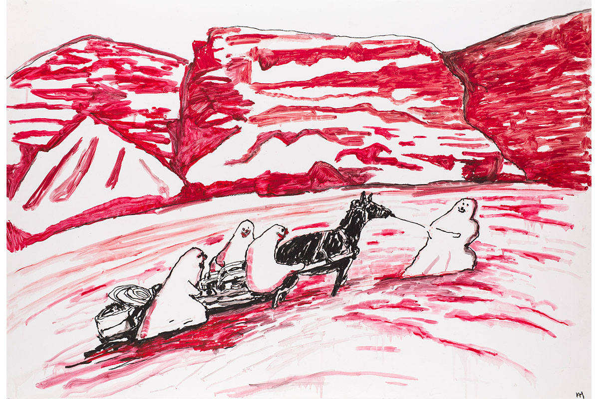 Kathleen Henderson, Red Rocks, 2019. Oil stick on paper. 27 x 40 inches. Courtesy of Sean MTrack 16 Gallery, Los Angeles.