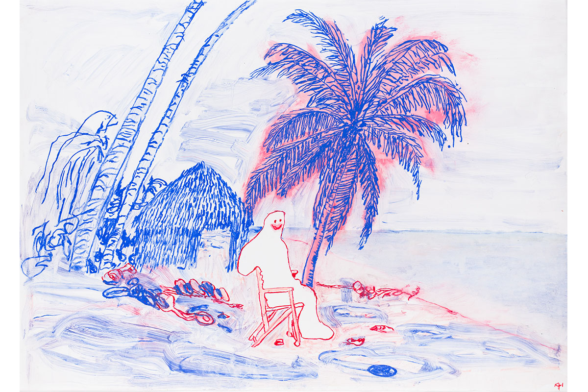 Kathleen Henderson, On The Beach, 2019. Oil Stick On Paper. 20 X 26 Inches. Courtesy Of Sean MTrack 16 Gallery, Los Angeles.