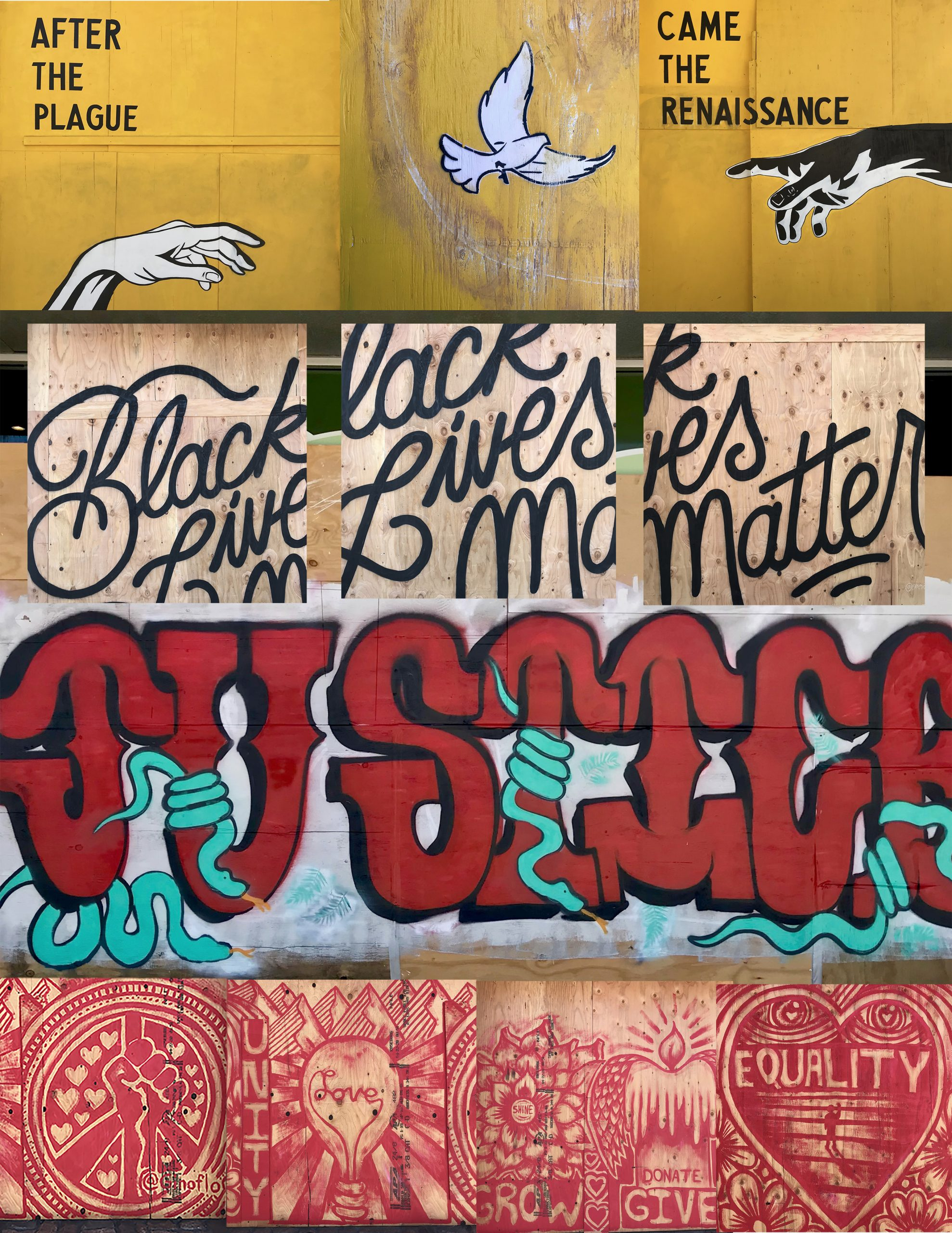 Nicola Goode, Photography Of Black Lives Matters Spontaneous Murals On Boarded Up Stores During The BLM Protests In Santa Monica In June Of 2020.