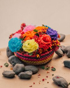 Paper flowers created by Carmela Morales, 2021.