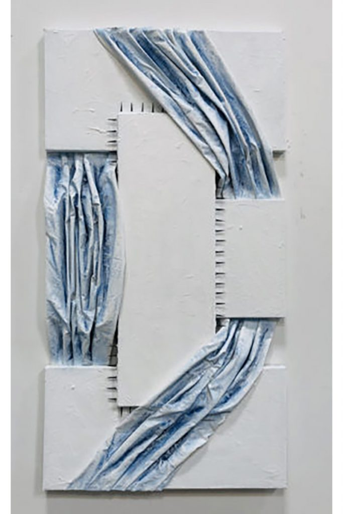 """Elham Sagharchi, Untitled, 2019. Mixed media, collage on canvas. 24"""" x 48""""."""