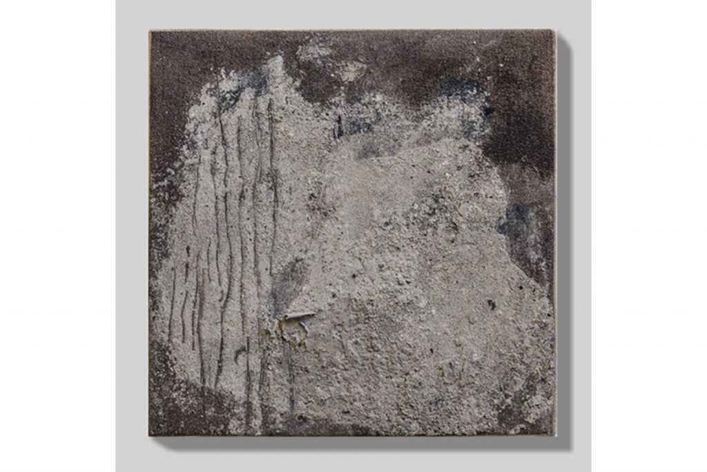 "Joan Wulf, Residue, 2016. Ash, dry pigment, canvas. 8"" x 8""."