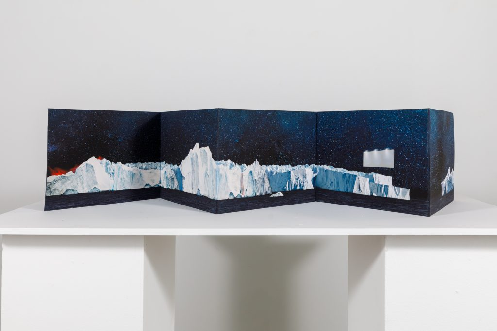"""Debra Disman and Luciana Abait, drift, 2020. Unique artists' book. 9.73 x 68"""" when completely stretched open. Archival pigment prints, cotton rag paper, acid-free watercolor paper, pencil, acrylic, linen thread, and pH neutral PVA adhesive based off images that are photo-based collages worked over with pencils and pastels to nearly erase the original image, then made into prints which were enhanced with drawing, stitched, and adhered to archival watercolor paper touched in with acrylics. Courtesy of the artists."""