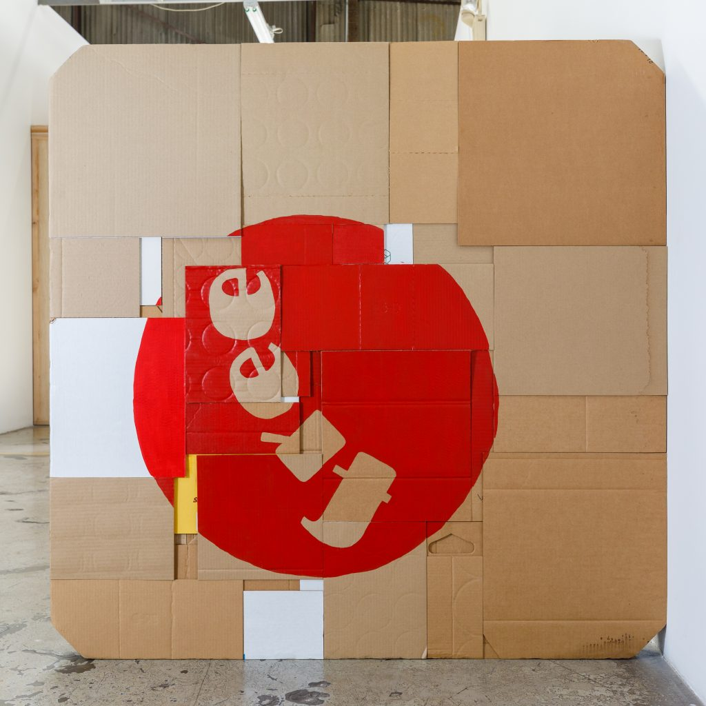 Dan S. Wang, Everyday Savings, 2005 – 2021. Cardboard, acrylic, and flame. Courtesy of the artist. Photo by Marc Walker.