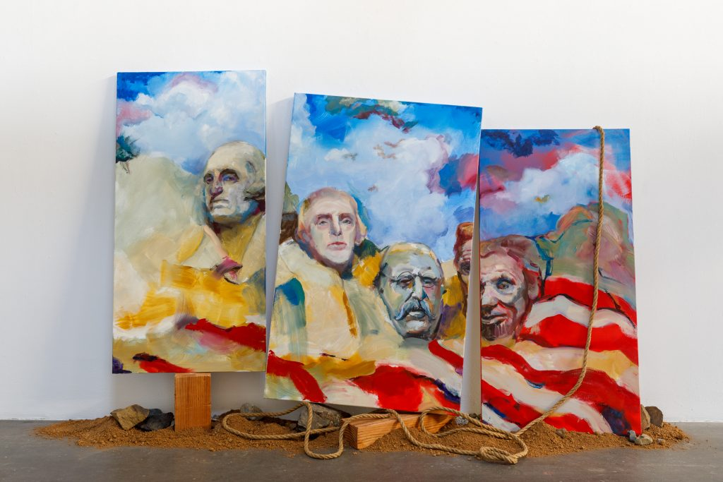 M Susan Broussard, Stars and Stripes, 2020. Oil on canvas triptych and mixed media. Courtesy of the artist. Photo by Marc Walker. Stars and Stripes reflects the historical monument Mount Rushmore, while examining the controversy of this national monument in a new light. With the political, racial, and social changes of 2020, this triptych questions the meaning and influence of landmarks such as this. To learn more about the project visit www.ushistoryforgotten.com