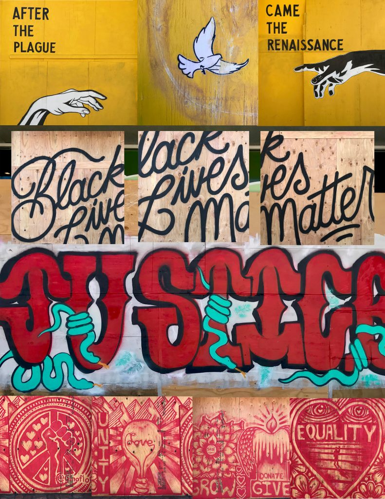 Nicola Goode, Santa Monica BLM, 2020. Photo collage, various sizes. Courtesy of the artist.