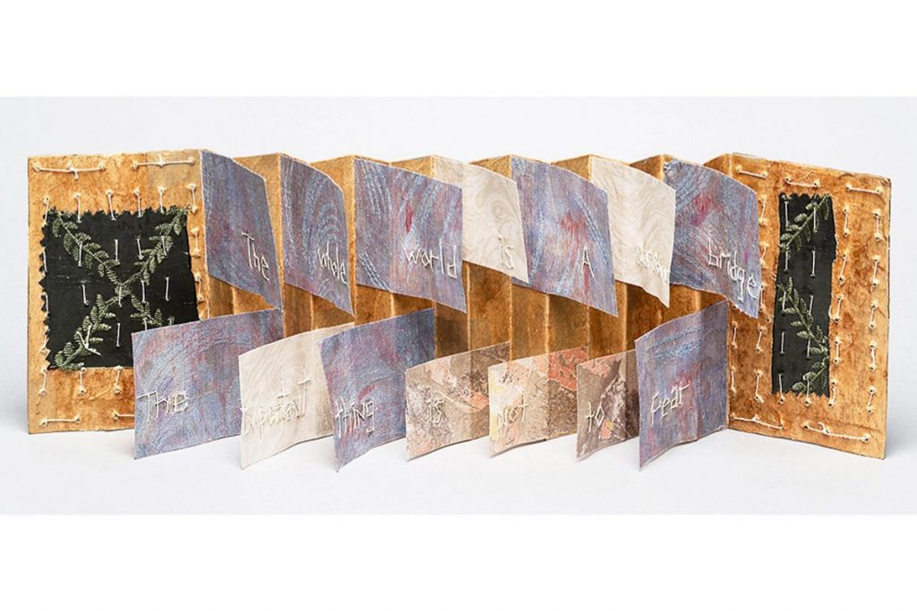 Debra Disman, Narrow Bridge, (inside) 2016, 5.5 x 16 x 3.5 inches, Artists' Book/Mixed Media (board, paper, fabric, linen thread).