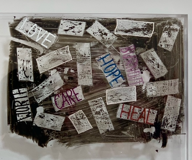 """Deborah Lynn Irmas, """"In another time in another place"""" (and the healing has begun), 2021. 6 x 9 inches. Tape, sumi ink, marker on plexiglass. Courtesy of the artist."""