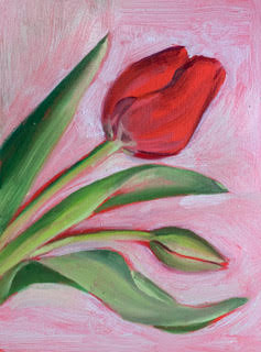 M Susan Broussard, Tulips, 2021. 6 x 8 Inches. Oil on panel. Courtesy of the artist.
