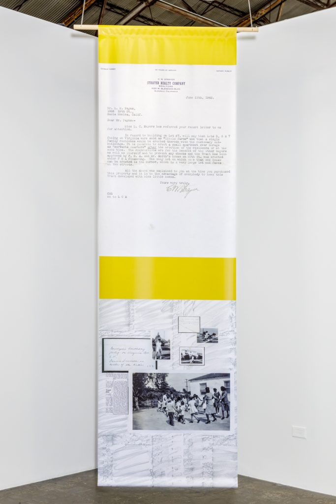 Maj Hasager, Five Pillars (Counting on community), 2021. 5 Banners, 3 x 10 feet. Textile print. Archive material: The Quinn Research Center.
