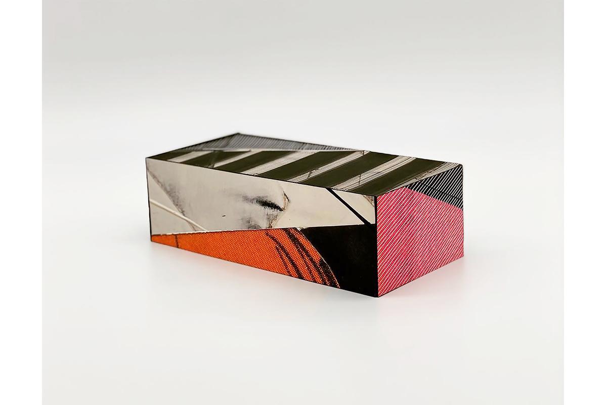 Benito Rangel de Maria, BRICK, 2020-2021. Mixed media on paper mounted on clay brick. 7 3/4 x 3 3/4 x 2 3/8 inches. Photo by Marcos Landin, Courtesy of Studio RDM.