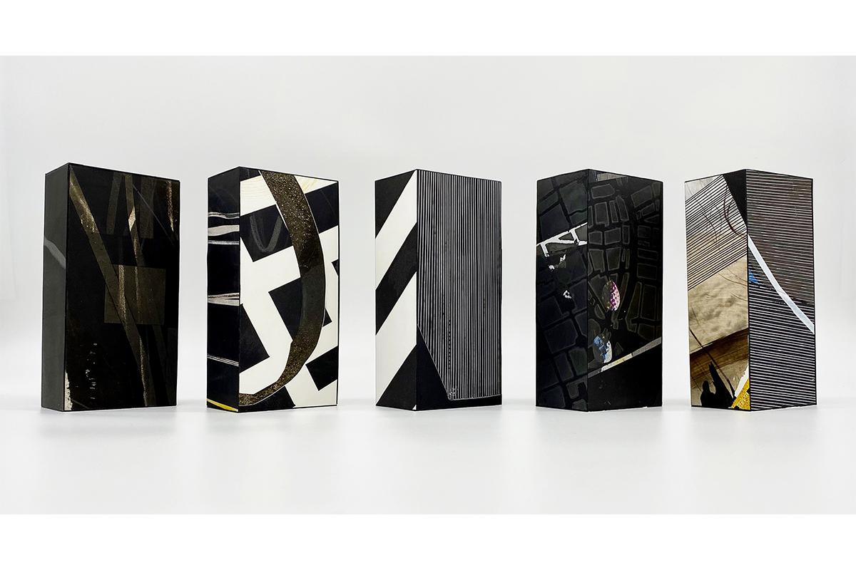 Benito Rangel de Maria, 5 BRICKS, 2020-2021. Mixed media on paper mounted on clay bricks. 7 3/4 x 3 3/4 x 2 3/8 inches each. Photo by Marcos Landin, Courtesy of Studio RDM.