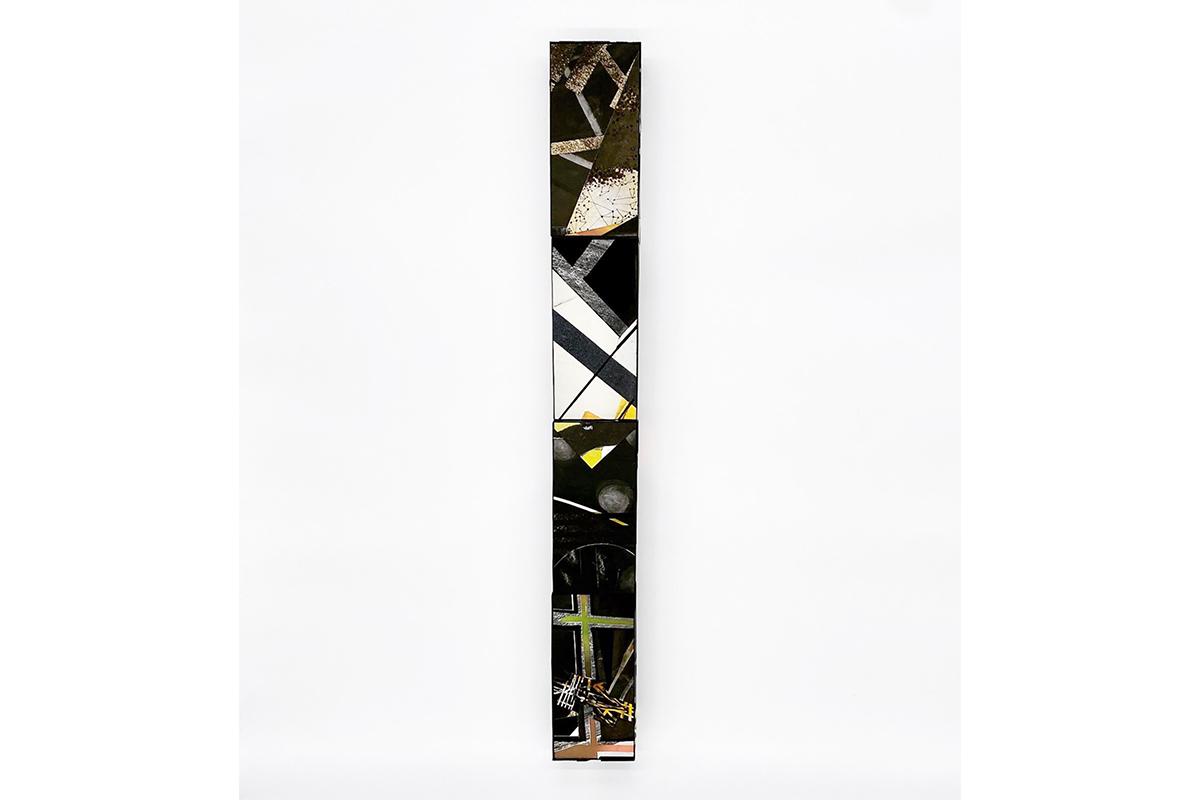 Benito Rangel de Maria, 4 BRICKS (TOTEM), 2020-2021. Mixed media on paper mounted on clay bricks. 3 3/4 x 31 x 2 3/8 inches. Photo by Marcos Landin, Courtesy of Studio RDM.