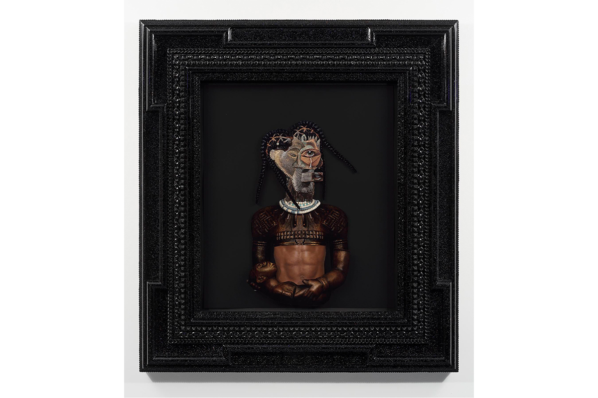 Rashaad Newsome, Parenting While Black, 2020. Assemblage on paper, custom mahogany and resin artist frame with automotive paint. 45 x 49 ¾ x 3 ⅝ in. Image courtesy of Rashaad Newsome Studio.