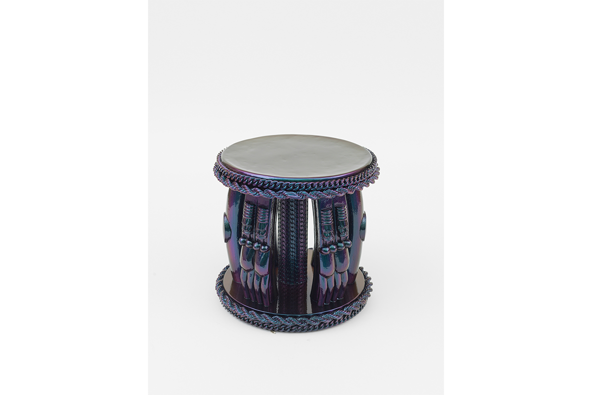 Rashaad Newsome, Unity, 2017. Hand carved mahogany stool with resin and custom automotive paint. 14 ¾ x 15 ½ in. Image courtesy of Rashaad Newsome Studio.