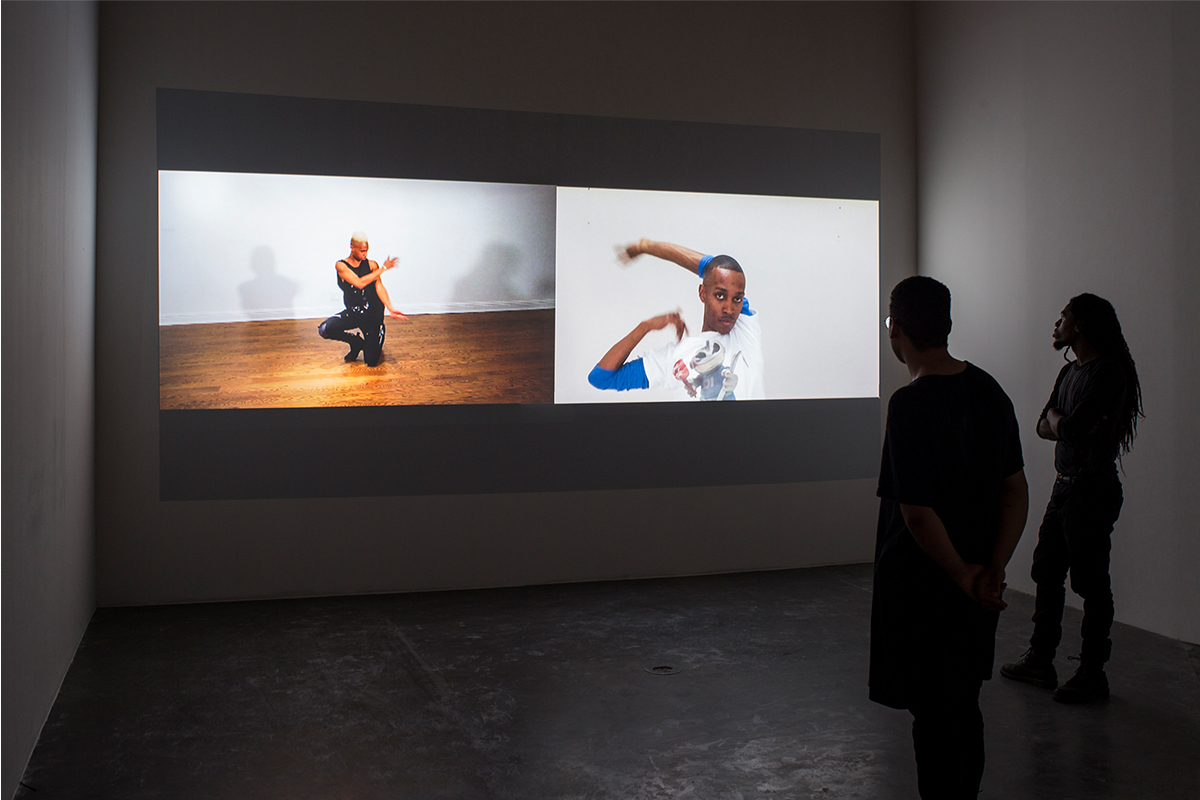 Rashaad Newsome, Untitled and Untitled New Way, 2008/2009. Silent single channel videos, dimensions variable. TRT: 06:26. Installation shot, 2017, CAC, New Orleans, LA. Image courtesy of Rashaad Newsome Studio.