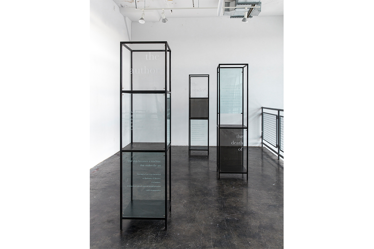 Jennifer Chia-ling Ho, On Display, 2020. Engraved plexiglass, magnet, steel. 72 x 18 x 18 inches each. Courtesy of the artist.