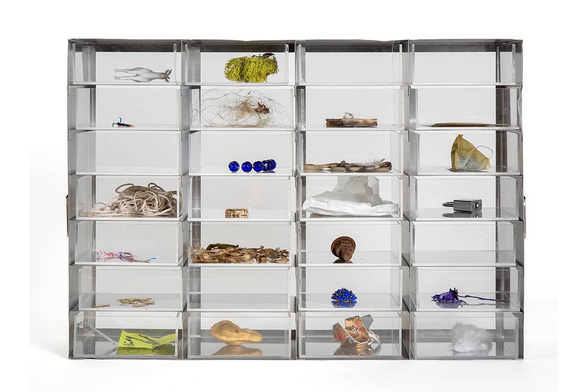 Jennifer Chia-ling Ho, Inventory, 2019. Laboratory freezer rack, plexiglass, and mix media. 22 x 15.5 x 5.5 inches. Courtesy of the artist.